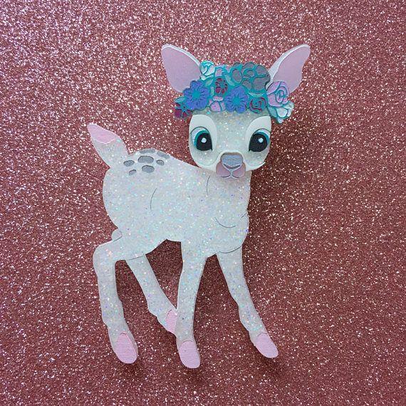 Flower Deer Handmade Perspex Brooch - White Glitter Snow Deer