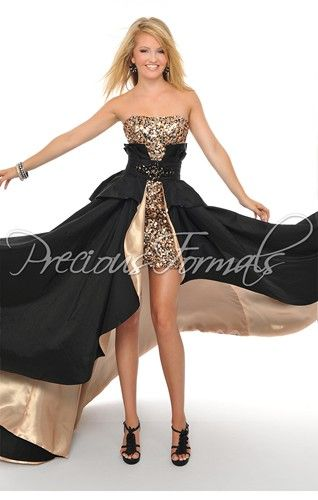 Prom dress with long, detachable skirt, in taffeta, by Precious Formals.