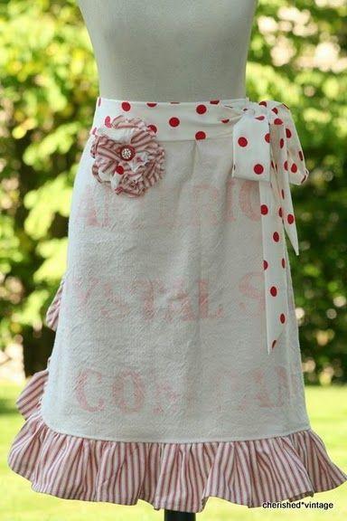 aprons: Cherished Vintage, Feed Sack, Vintage Apron, Feedsack, Flour Sacks, Sack Apron, Sewing Aprons
