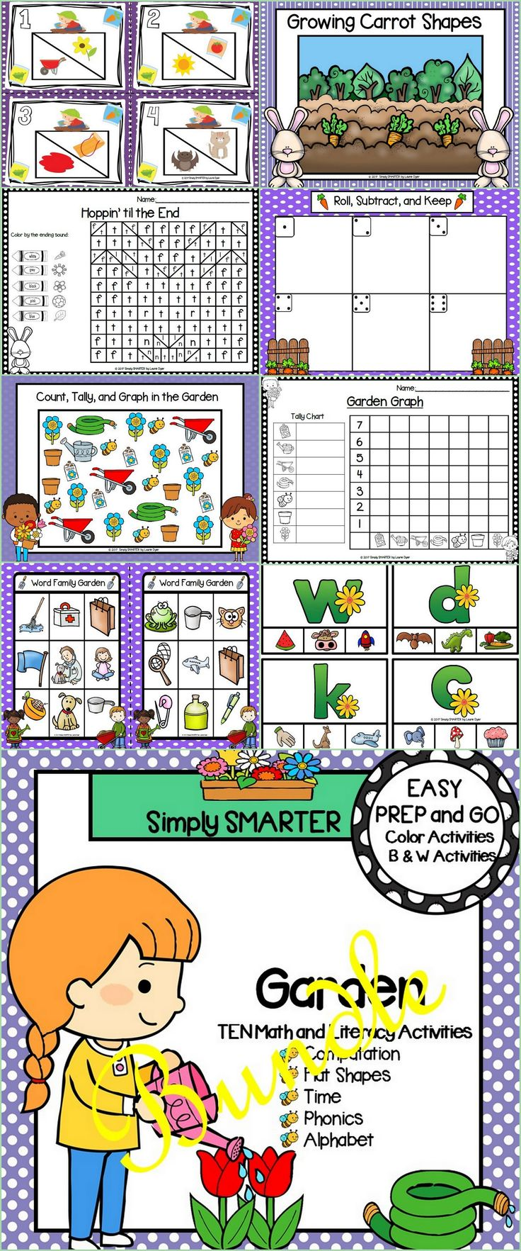 Are you looking for EASY PREP literacy and math activities for preschool, kindergarten, or first grade? Then enjoy this phonics and math resource which is comprised of TEN different GARDEN themed activities complete with a combination of color and black and white activities.  The bundle includes a variety of engaging activities such as Bingo, clip cards, cut and paste sentences, Play-Doh mats, write the room, and MORE!