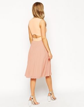Enlarge ASOS Sheer And Solid Pleated Midi Dress