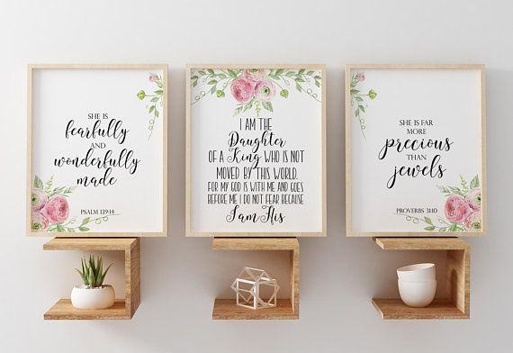 I Am The Daughter Of A King Baptism Gift Scripture Nursery Print Set For Prints Verses Art