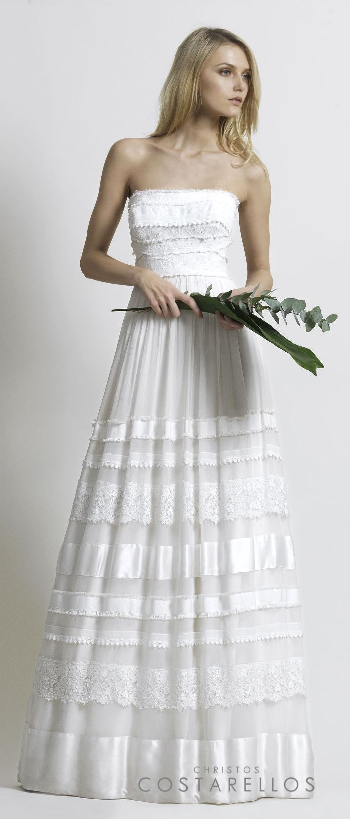 Christos Costarellos Bridal 2014 collection. A wedding dress made of silk muslin, with cotton lace and silk satin details. Code: BR14 24. For stockists please visit www.costarellos.com #christoscostarellos #costarellos #costarellosbride #bridaldress #bridalgown #weddingdress #weddinggown #lace #bridetobe #bridalmarket #bridalfashion #wedding