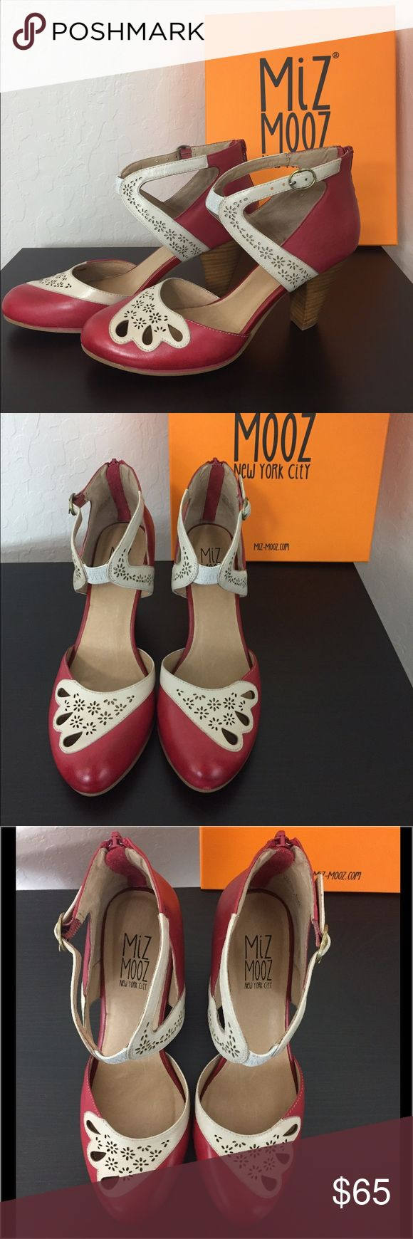Red and cream Miz Mooz heels. Size 8. Brand new. Never worn. With box and taps. Super cute red and cream colored heels. Perfect for work or play! miz mooz Shoes Heels