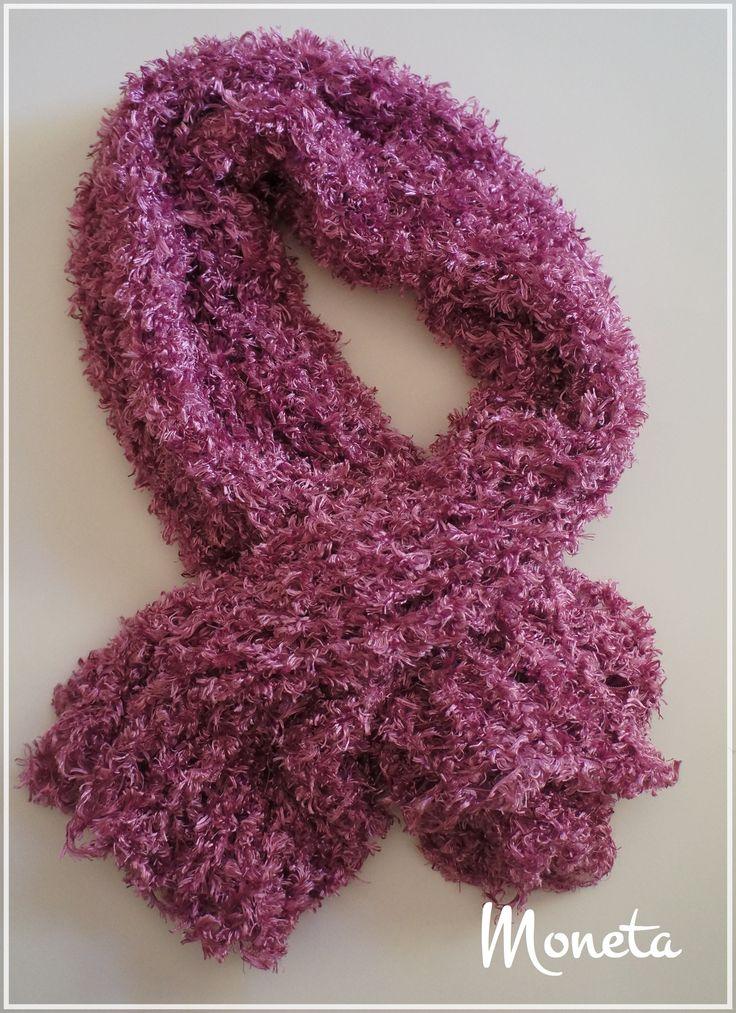 Bufanda tejida  con telar tubular y lana más acrílico