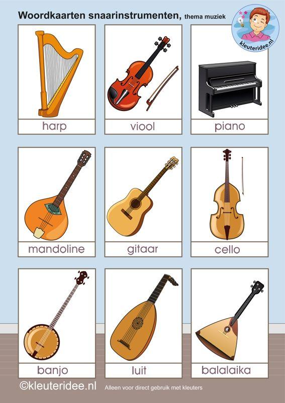 Woordkaarten snaarinstrumenten, thema muziek voor kleuters, kleuteridee, free printable.