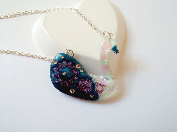 Resin Necklace Resin Pendant Resin Charm Swan by LittleWoolShop, $15.00