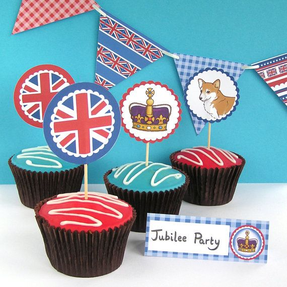 Rule Britannia  cupcake toppers CT002  2 inch by hfcSupplies, £3.00
