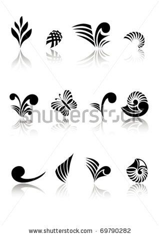 Maori Koru Design Logos Elements Set - stock vector