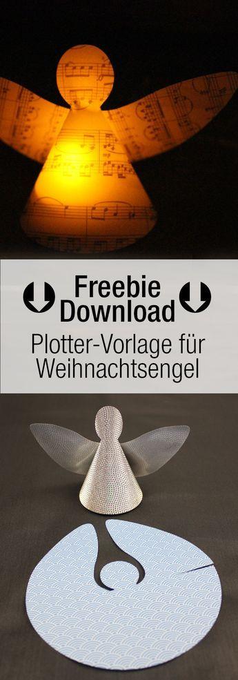 Weihnachtsengell & Schutzengel - Bastelvorlage / Plotterfreebie DXF, SVG - kugelig.com