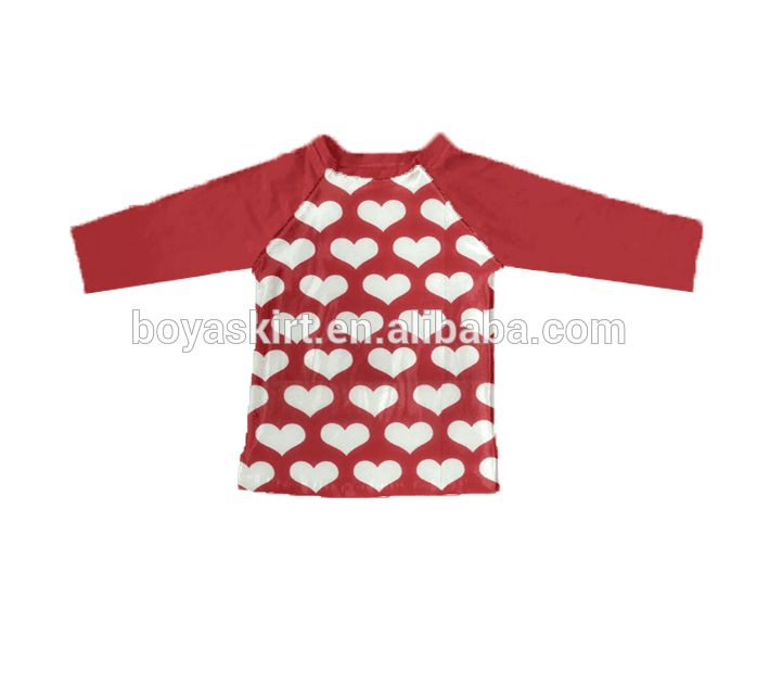Wholesale children's boutique clothing with low price raglan sleeve for Valentine's