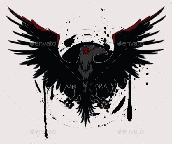Dark Raven (Vector EPS, CS, abstract, angry, animal, art, background, bird, black, cartoon, design, element, engraving, evil, feather, flying, graphic, grunge, halloween, head, horror, illustration, mascot, nature, night, ominous, raven, silhouette, tattoo, vector, wildlife, wing)