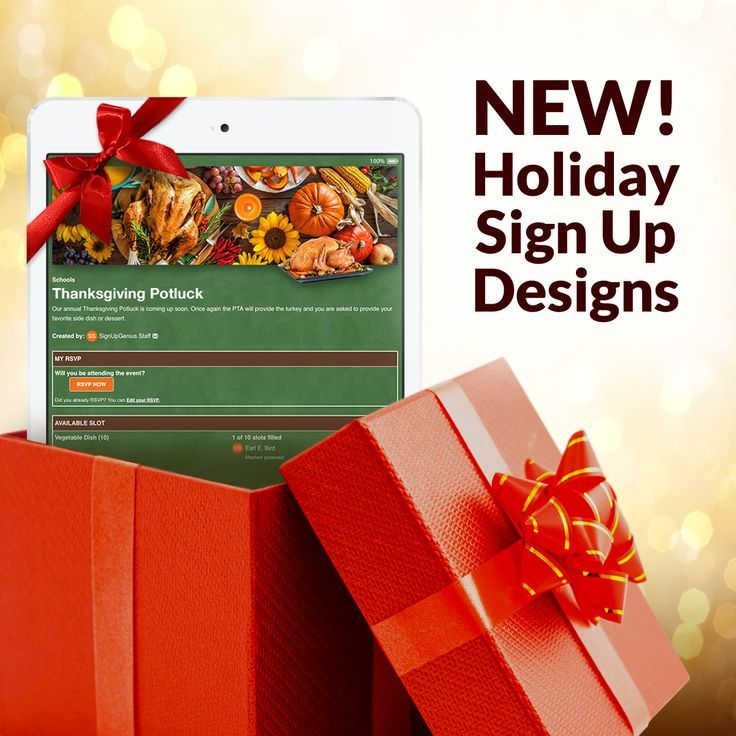 Try festive online sign up themes for holiday events from Thanksgiving dinner and work potlucks to Christmas concerts and New Year's Eve parties.