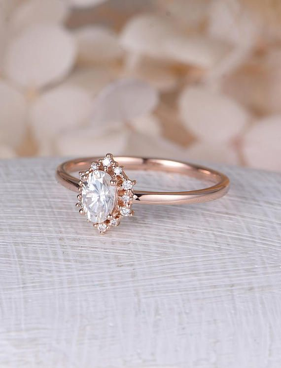 Moonstone engagement ring rose gold Vintage engagement ring Oval diamond wedding women Unique Design Three stone Bridal Anniversary Gift