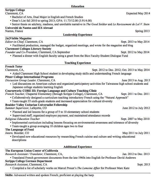 french resume example