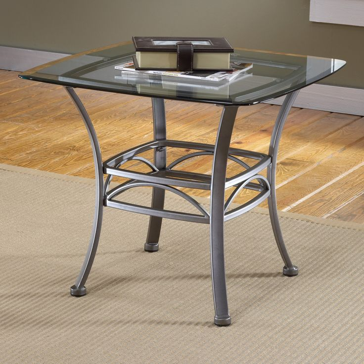 Hillsdale Abbington Square Glass Top End Table