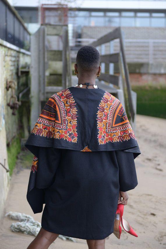 NEW Dashiki print on black wool coat by Gitas by GitasPortal