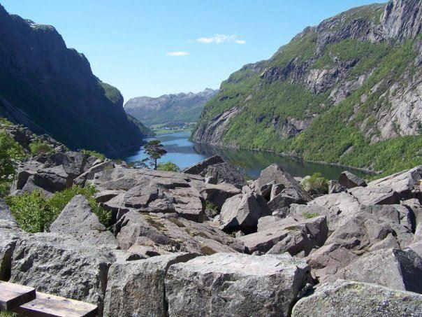 Gloppedalsura scree, Gjesdal, Gloppedalsura consists of avalanche boulders that are piled on top of an end moraine.   10,000 years ago the ice sheet that covered the area, melted away. For a period of time the massive end moraine dammed the Hunnedal ri...