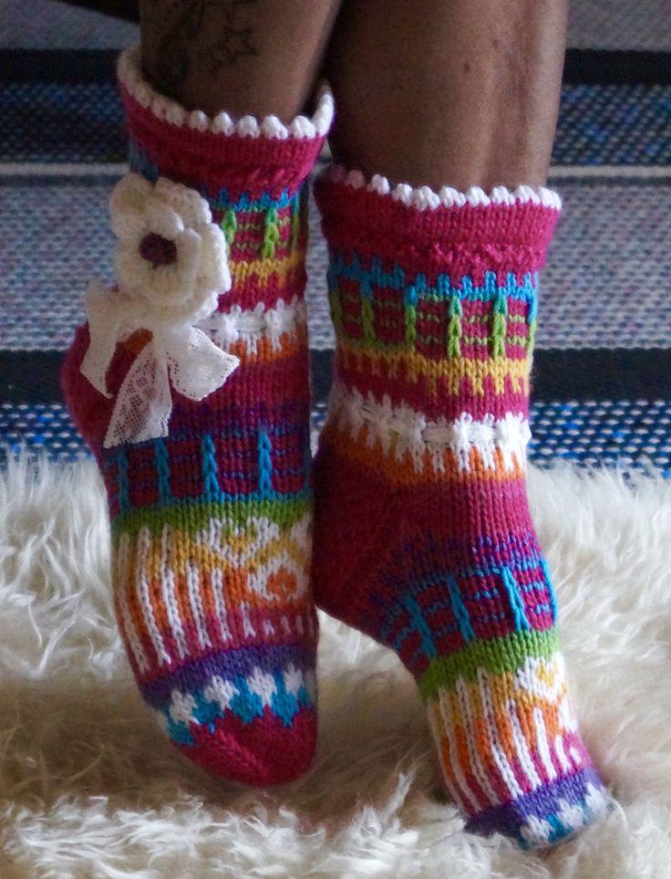 Knitted wool socks heather flower, very pretty Christmas Sweaters
