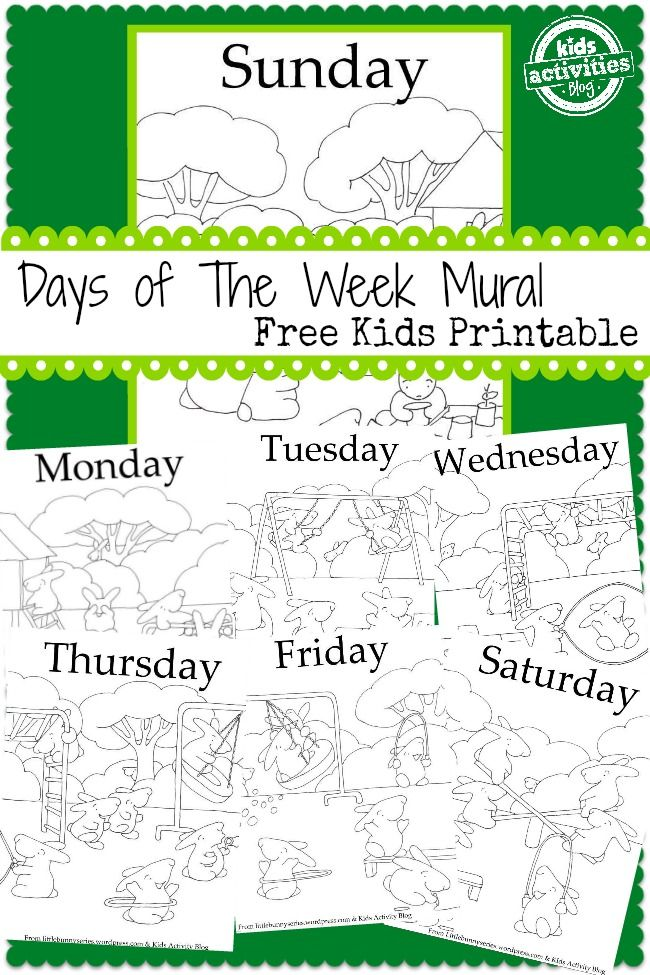 7 days a week free kids printable from kids activities blog - Kids Activity Printables