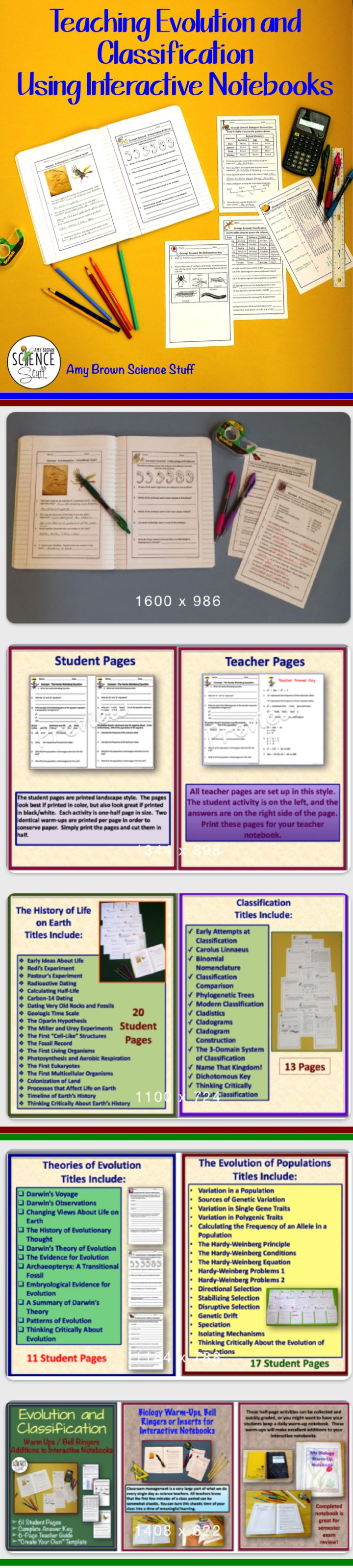 Blog post from Science Stuff.  You can make your lessons on evolution and classification really snap by including these interactive notebook pages into your classroom routine.  Use as warm ups, bell ringers or fantastic homework assignments.  Topics include Darwin, natural selection, the evolution of populations, Hardy Weinberg, and classification of organisms.