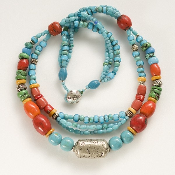 Tibetan style necklace, vintage silver, old sherpa coral, turquoise.