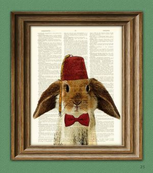 BUNNY RABBIT Art Print with Lop Rabbit with tassled FEZ and a bow tie illustration beautifully upcycled dictionary page book art