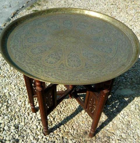 Indian Moorish Brass Table With Folding Legs Hand Carved