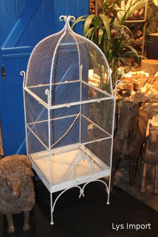 Lys Import.com Grande Volière blanche,  fer et grillage. Disponible en 2 tailles