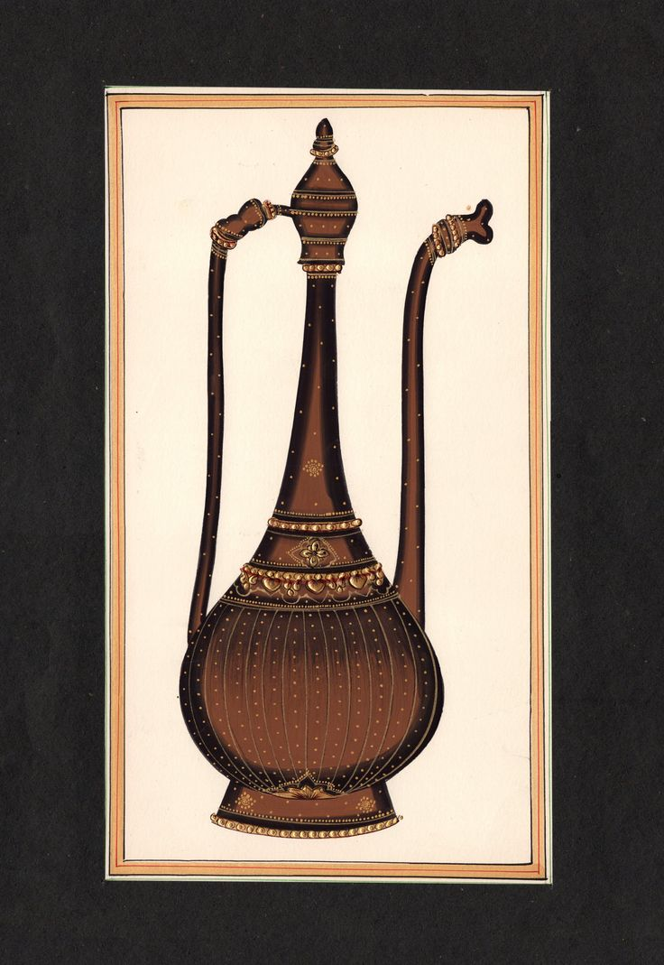 Rajasthani Miniature Painting Handmade Surahi Wine Jug Decor Ethnic Paper Art