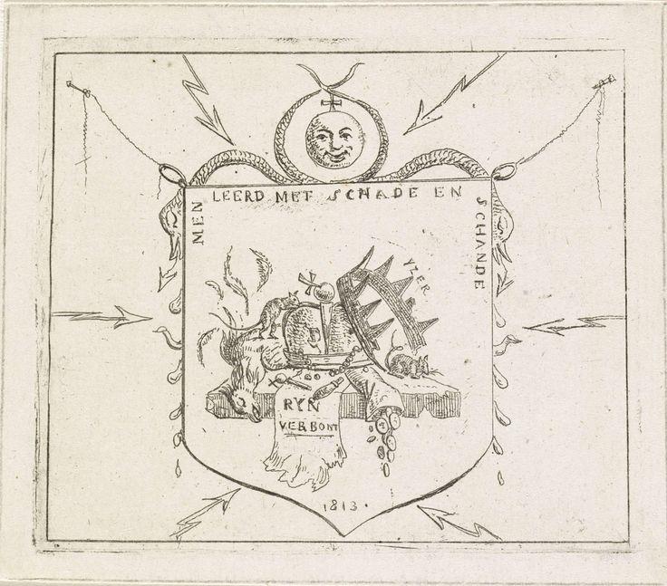 Hermanus Fock | Wapenschild met gebroken kronen en een verscheurd vaandel van de Rijnbond, Hermanus Fock, 1813 | Spotprent op het uiteenvallen van de Rijnbond (een confederatie van vazalstaten van het Eerste Franse Keizerrijk) na de nederlaag van de Franse troepen in de slag bij Leipzig in 1813. Kronen, symbolen van de Rijnbond, worden door ratten aangeknaagd. Een verscheurd vaandel van de Rijnbond ligt naast een dode vogel en een zak met munten.  Met tekst 'Men leerd met schade en schande'.