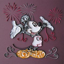 Mickey Mouse is quilled with fireworks.