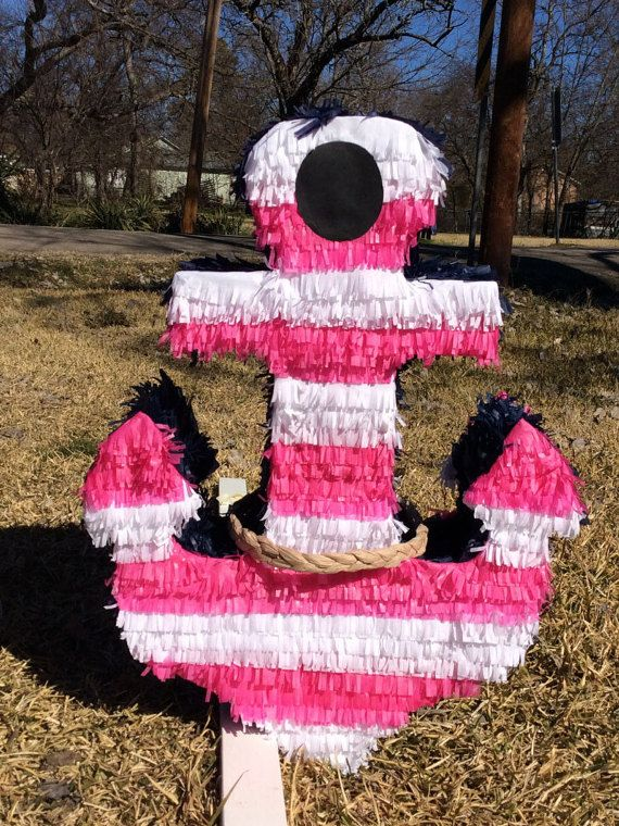 ANCHOR PINATA   .This made with cardboard and paper of colors great for any party. is approximately 24high 18wide 5 deep can holds 5 or 6 lb of