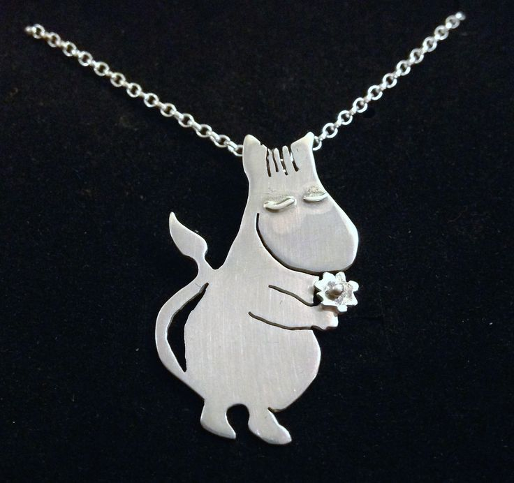 Silver moomin necklace made for my daughter's birthday, still some fire scale to remove