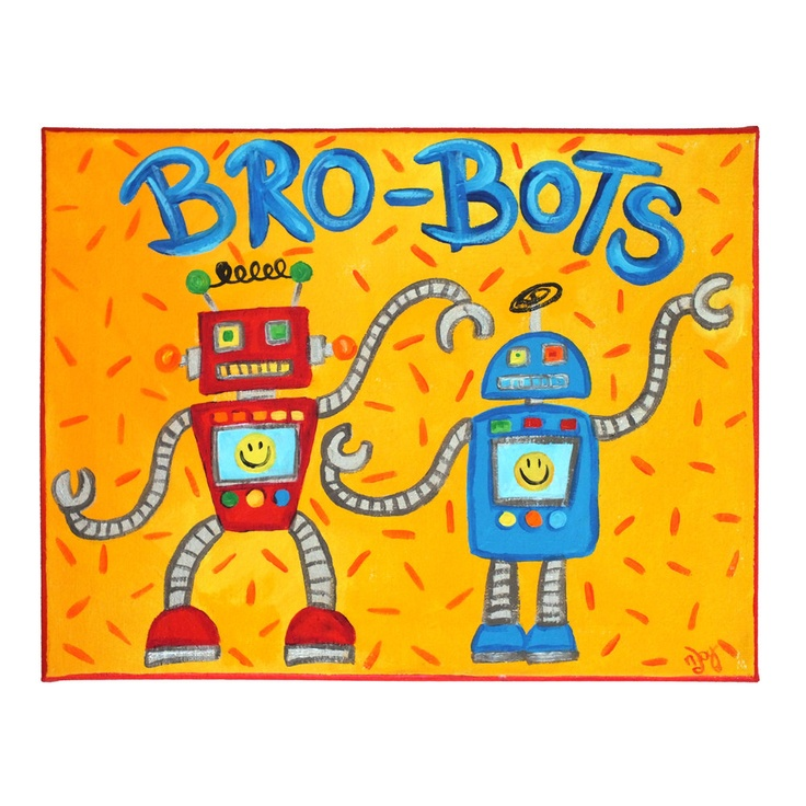 Perfect for twin boys!  Art for Kids - brothers rooms BRO-BOTS, 14x11Canvas,   Robot Art for Boys Rooms.  by nJoyArt, via Etsy.