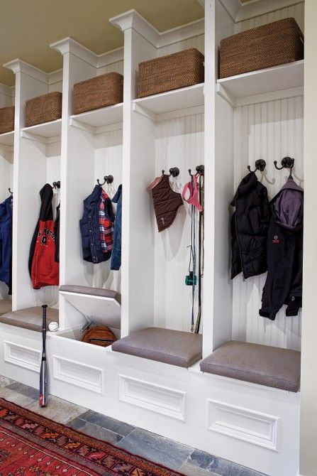 Mud room..I love how large & wide these are.  The hinged seat idea is cool, but I'd prefer an open cubbie below that I could put a basket/bin in for shoes.  and maybe the top shelf not so high?  at least on the kids cubbies.