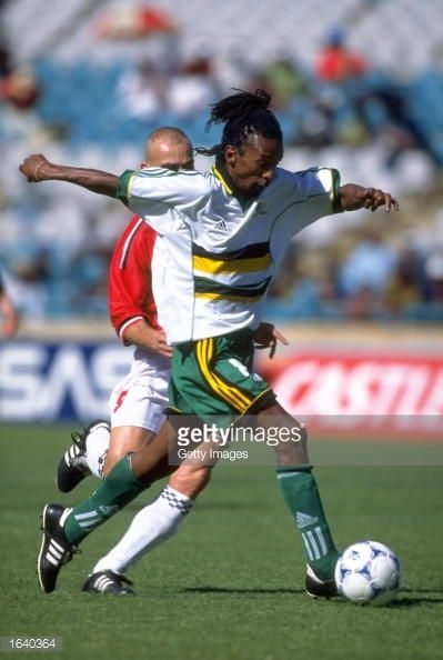 Thabo Mngomeni of South Africa in action against Egypt in the Nelson Mandela Inauguration Challenge friendly in Johannesburg South Africa South...