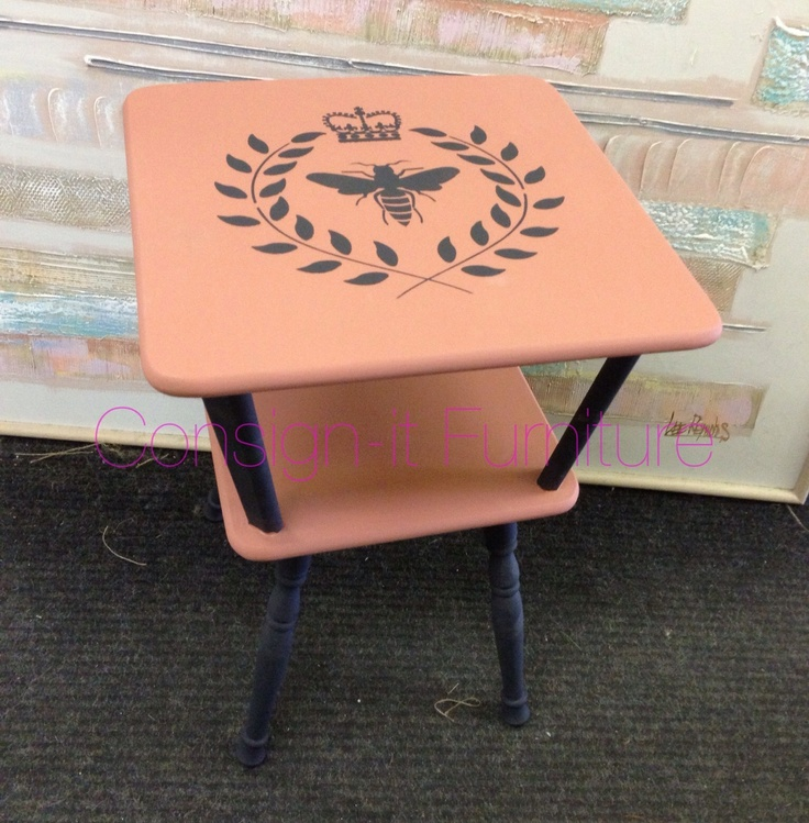 Small table stenciled and painted in Scandinavian Pink and Graphite Chalk Paint® decorative paint by Annie Sloan.