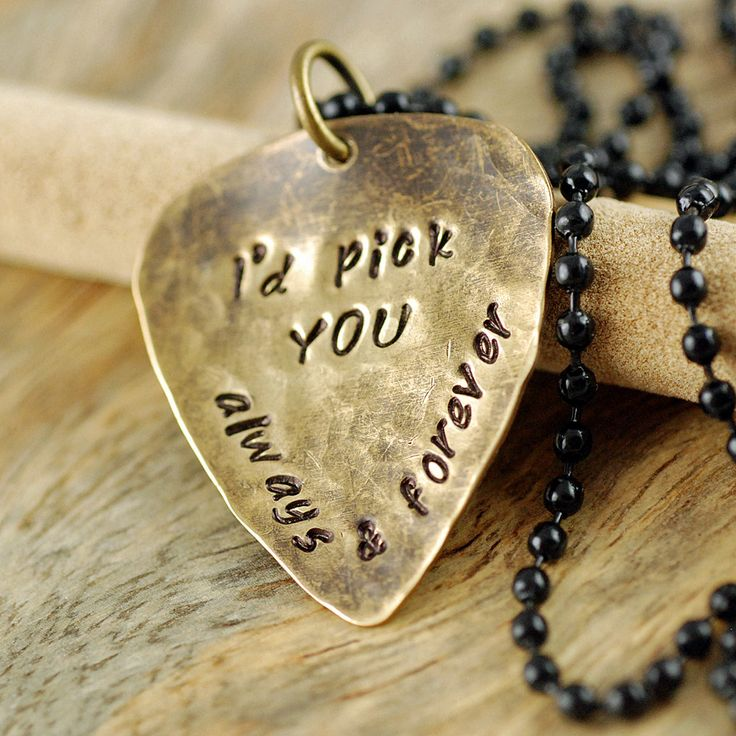 Guitar Pick Necklace, Stamped Jewelry, I'd Pick You Personalized Hand Stamped Guitar Pick Necklace - Boyfriend, Friend, Husband, Dad Gift