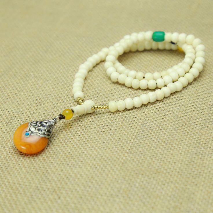 Мастер дизайн тибет белый як кость ожерелье 7 - 8 мм непал Simulent золотисто-янтарный подвески бирюзовый бусины браслеты