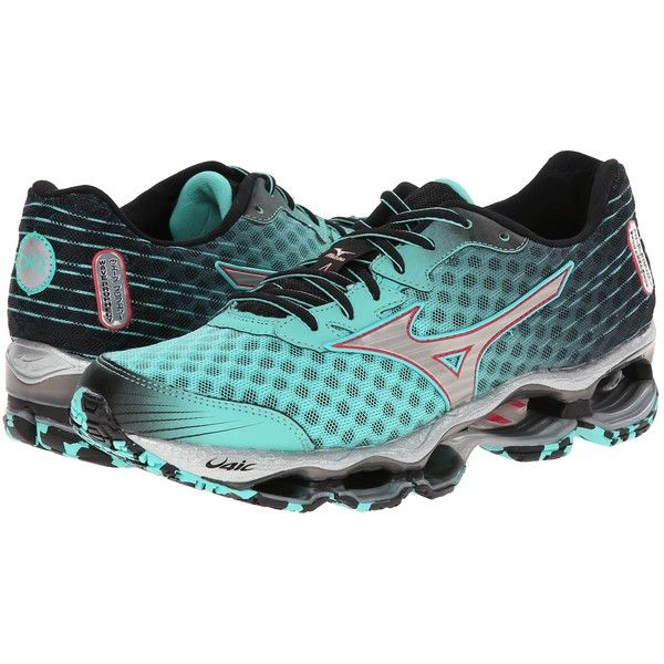 Mizuno Wave Prophecy 4 Women's Shoes, Green ($210) ❤ liked on Polyvore featuring shoes, athletic shoes, green, mizuno, traction shoes, mizuno shoes, shock absorbing shoes and green shoes