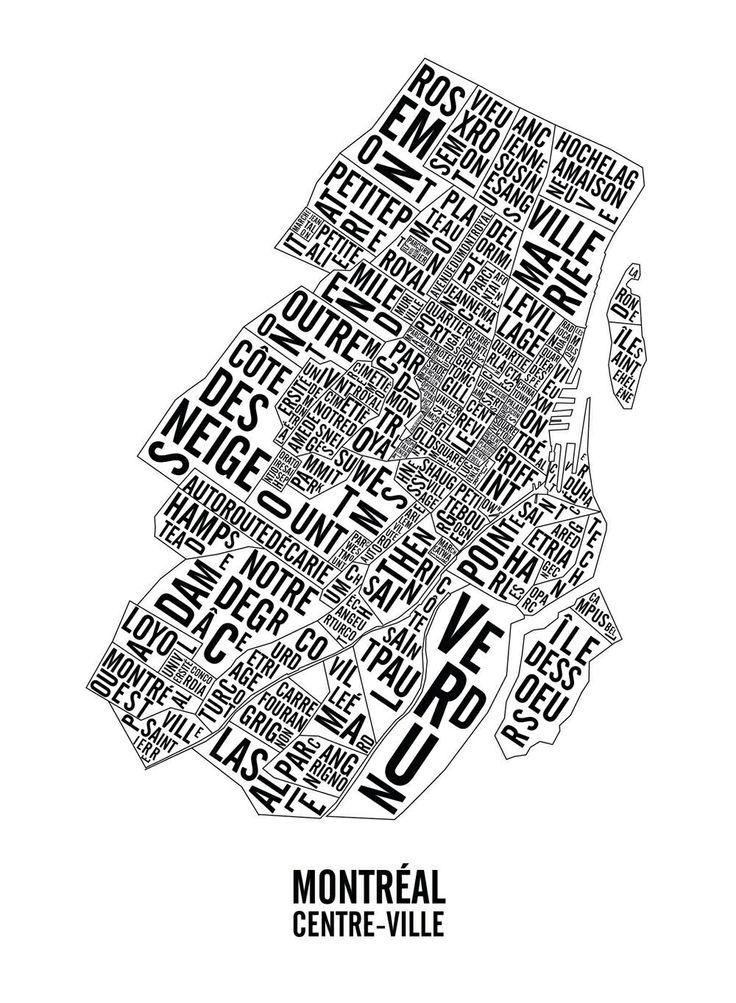 Carte du centre-ville de Montréal.