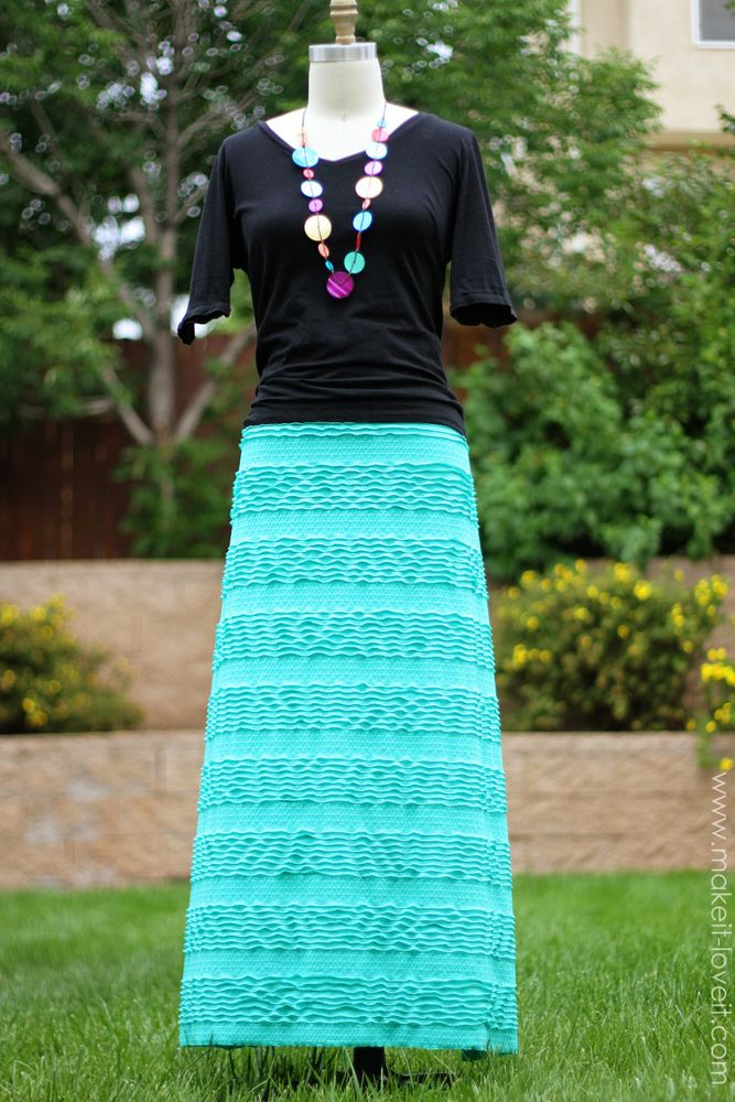 "Long A-line skirt - made with ""Ruffles and Ridges"" fabric. www.makeit-loveit.com #clothing"
