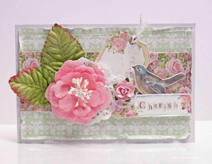 blue and white cardstock #Kaisercraft Mini Blooms Fushia True Romance Collectables Kaisercraft  True Romance prima flowers,leaves twine,machine sewing,cotton