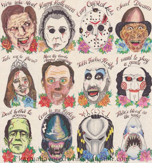 horror movie tattoo flash? idk but it's awesome