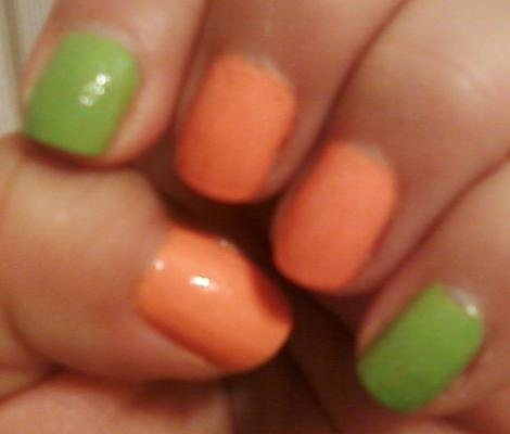 NOTW 5/19/12  So continuing with the nail blocking trend I chose two colors that look great together.    Wet n Wild Wild Shine:  Sunny Side Up is a light orange. This is a creamy nail polish, it don't go on evenly and it needs 3 coats.    Spoiled by Wet n Wild:  I Only Eat Salads is a light green. This too is a creamy nail polish and it does the job with two coats