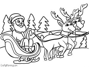 santa with sleigh coloring pages - photo#21