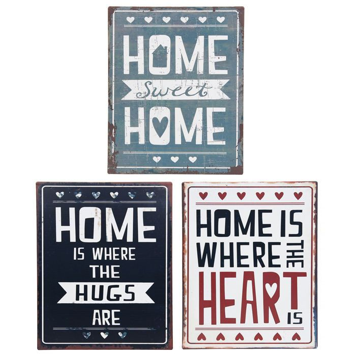 """Vintage Metal Home Quote Plaques x 3 Designs! """"Home Sweet Home"""" """"Home Is Where The Hugs Are"""" """"Home Is Where The Heart Is"""""""
