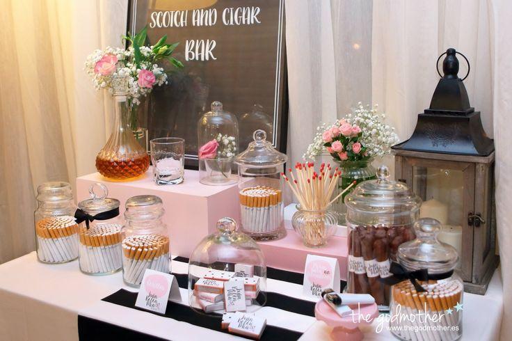 mesa tabaco - decoración boda blanco, rosa y negro - the godmother.es