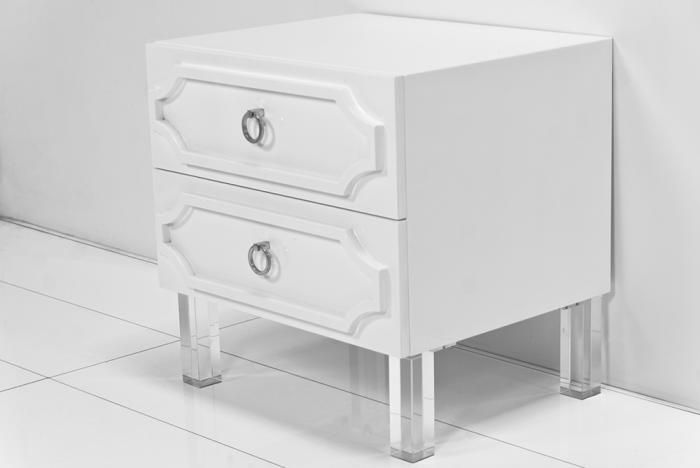 Hollywood 2 Drawer Nightstand Lucite Legs Furniture